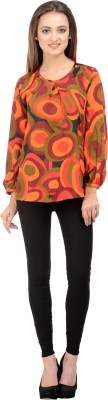 Rumara Casual Full Sleeve Printed Women's Red Top