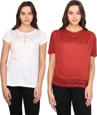 Nordic Bazaar Casual Short Sleeve Solid Women's Red, White Top