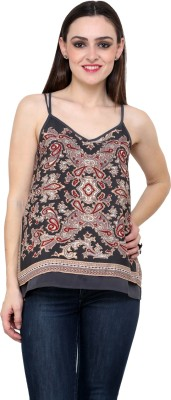 Fashley London Casual Sleeveless Printed Women,s Multicolor Top