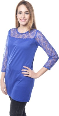 Visach Casual 3/4 Sleeve Solid Women's Blue Top