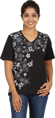 FICTIF Casual Short Sleeve Floral Print Women's Black Top
