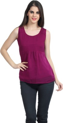 Mineral Casual Sleeveless Solid Women's Maroon Top