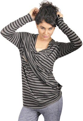 My Hollywood Shop Casual Full Sleeve Striped Women's Black Top