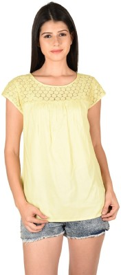 French Creations Casual Short Sleeve Solid Women's Yellow Top