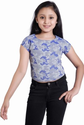 Just Clothes Party Sleeveless Printed Girl's Blue Top
