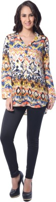 Florriefusion Casual Roll-up Sleeve Printed Women's Multicolor Top
