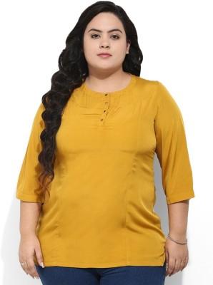 Amydus Formal 3/4 Sleeve Self Design Women's Yellow Top