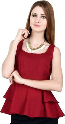 LA ATTIRE Casual Sleeveless Solid Women's Maroon Top