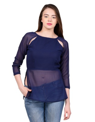 LA ATTIRE Casual, Party, Lounge Wear Full Sleeve Solid Women's Blue Top
