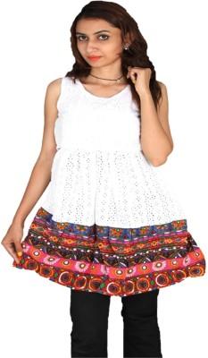 Vanya Enterprises Casual Sleeveless Printed Women's White Top
