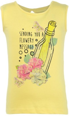 Bells and Whistles Casual Sleeveless Printed Girl's Yellow Top