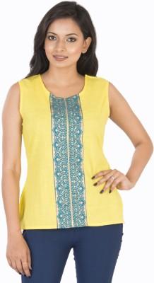 Sunshine Casual Sleeveless Solid Women's Yellow Top
