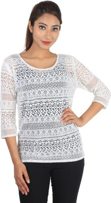 Jiyami Creations Party 3/4 Sleeve Embroidered Girl's White Top