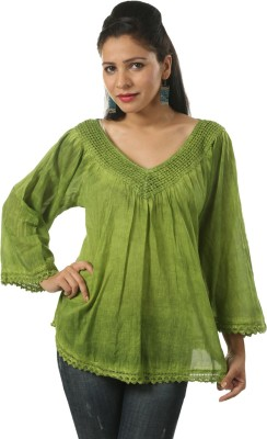 India Inc Casual Bell Sleeve Printed Women's Green Top