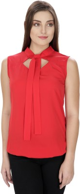 Pops N Pearls Casual Sleeveless Solid Women's Red Top