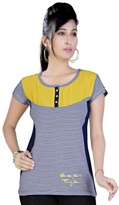 Mint Casual Short Sleeve Printed Women's Yellow Top