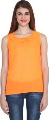 Sharleez Casual Sleeveless Solid Women's Orange Top