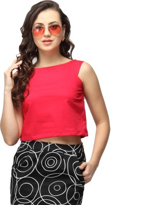 Vodka Fashion India Casual, Lounge Wear, Formal, Party Sleeveless Solid Women's Red Top