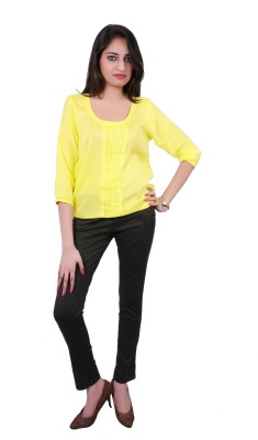 Ur Sense Casual 3/4 Sleeve Solid Women's Yellow Top