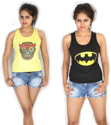 Fashion Fakir Casual Sleeveless Printed Women's Yellow, Black Top