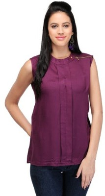 PINK SISLY Casual Sleeveless Solid Women's Purple Top