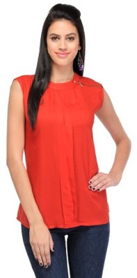 PINK SISLY Casual Sleeveless Solid Women's White, Red Top