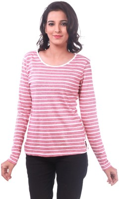 La Divyyu Casual Full Sleeve Striped Women's Pink Top