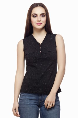 Miss Queen Casual Sleeveless Printed Women's Black Top