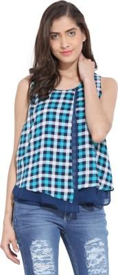 Ama Bella Casual Sleeveless Checkered Women's Blue Top