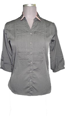 V.K TRADERS Casual 3/4 Sleeve Embroidered Women's Grey Top