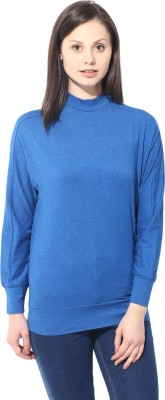 T-shirt Company Casual Full Sleeve Solid Women's Blue Top