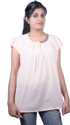Kashana Fashions Party Cape Sleeve Self Design Women's Orange Top