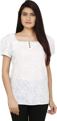 India Inc Casual Short Sleeve Embroidered Women's White Top