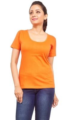 ELINA Casual, Party, Sports, Lounge Wear, Beach Wear Short Sleeve Solid Women's Orange Top