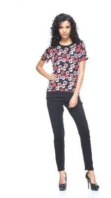 HANGNHOLD Casual Short Sleeve Printed Women's Black Top