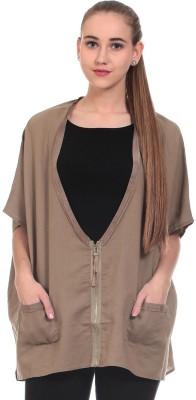 Saiints Casual Kimono Sleeve Solid Women's Brown Top
