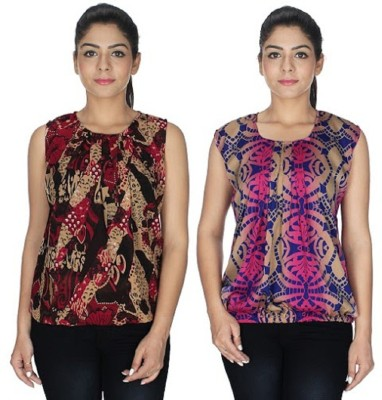 PINK SISLY Casual Sleeveless Solid Women's Multicolor Top