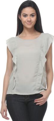 Kaxiaa Casual Butterfly Sleeve Solid Women's Beige Top