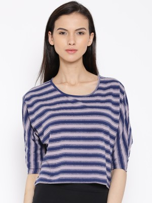 Rat Trap Casual 3/4 Sleeve Striped Women's Blue, Pink Top