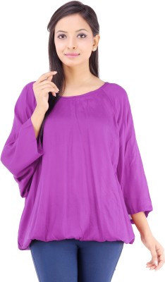 Inblue Fashions Casual 3/4 Sleeve Solid Women's Purple Top
