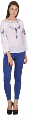 Gojilove Casual, Party 3/4 Sleeve Embroidered Women's White, Blue Top
