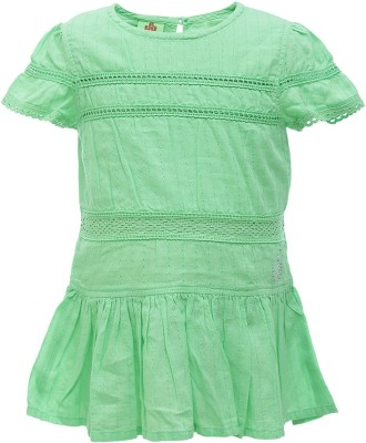 UFO Casual Short Sleeve Solid Girl's Green Top