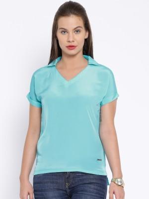 Harvard Casual Short Sleeve Solid Women's Blue Top