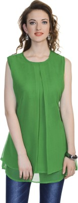 Urbane Woman Casual Sleeveless Solid Women's Green Top