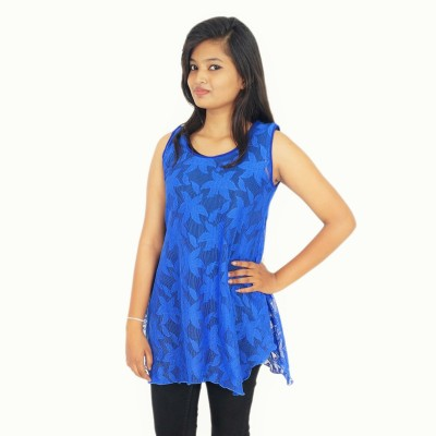 Zebra Path Casual Sleeveless Solid Women's Blue Top