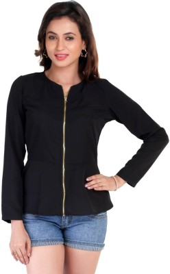 Big Tree Casual Full Sleeve Solid Women's Black Top