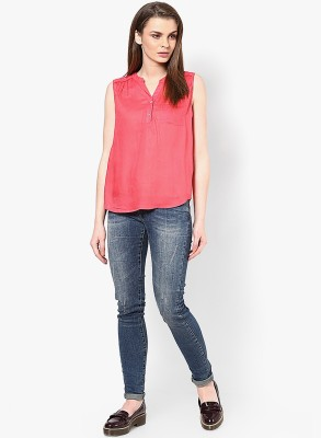 Only Casual Sleeveless Solid Women's Red Top