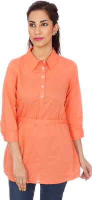 Clodentity Casual 3/4 Sleeve Solid Women's Orange Top