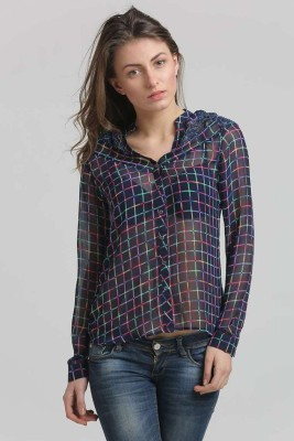 Moda Elementi Casual Full Sleeve Checkered Women's Blue Top
