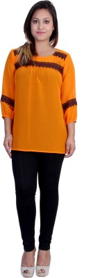 Rich Creations Casual, Party 3/4 Sleeve Solid Women's Orange Top